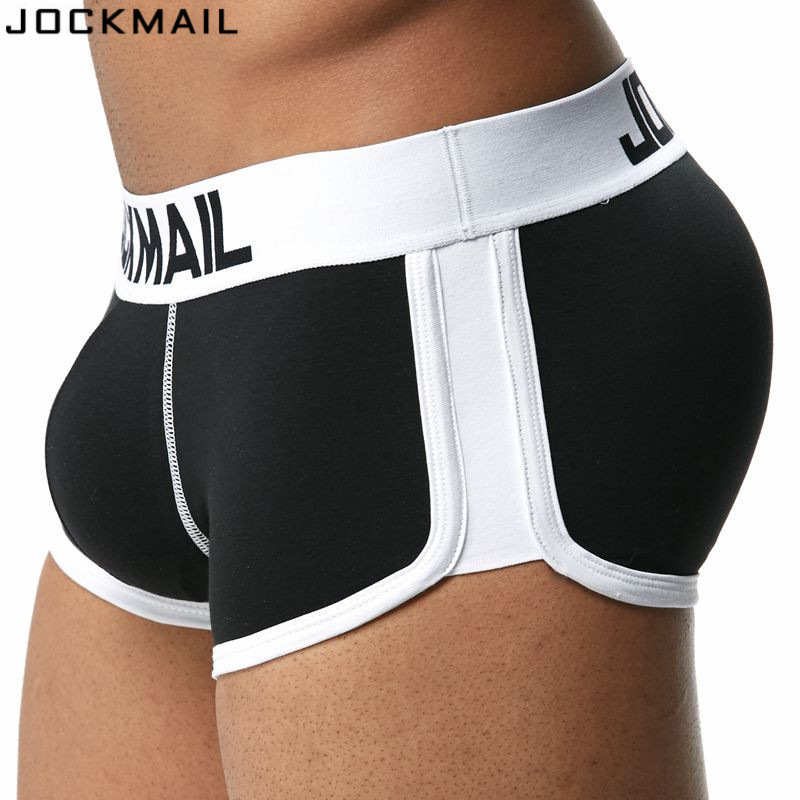Buy JOCKMAIL Brand Enhancing Mens Underwear Boxers Trunks Sexy Bulge Gay Penis Pouch  Front + Back Double Removable Push Cup