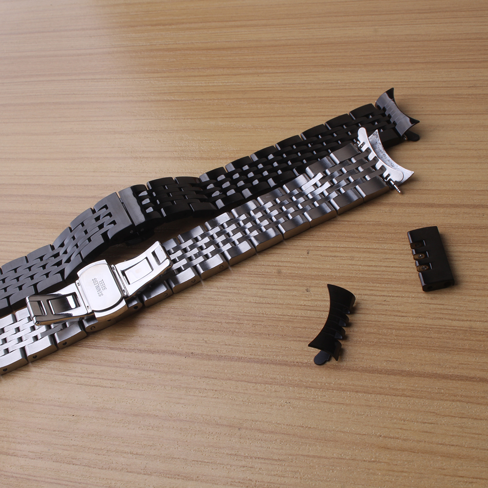 Black and silver Watchbands Stainless steel polished Metal Watch strap bracelets 18 19 20 21mm