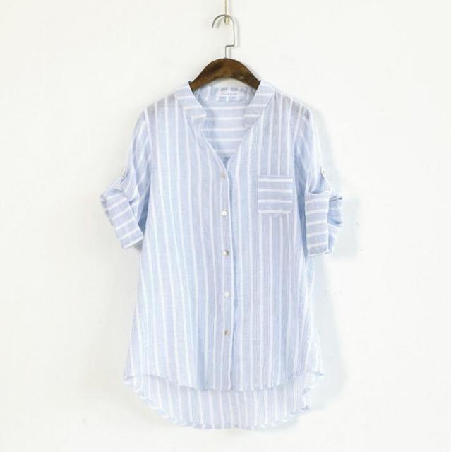 b6639e20de4593 HXYZ Womens Blouses Summer Ladies Blue Vertical Pinstripe Tops 2019 Casual  womens V-neck single breasted stripe shirt cardigan