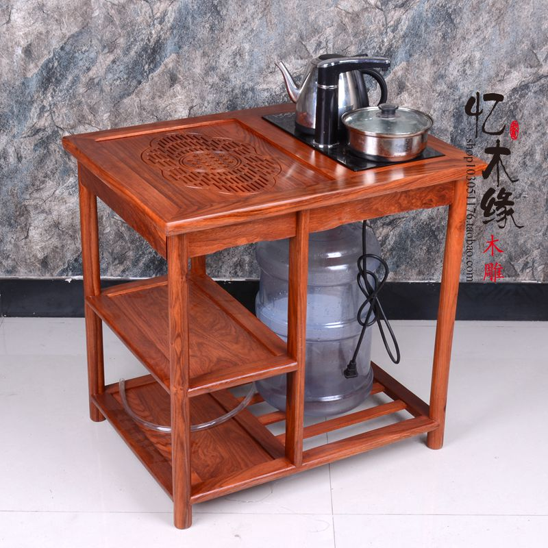 Mahogany furniture, small tea cart, African pear wood tea table, moving belt pulley, tea table, Gongfu tea table, solid wood tea creative tea table toughened glass tea table the oval table of the lacquer that bake small tea table