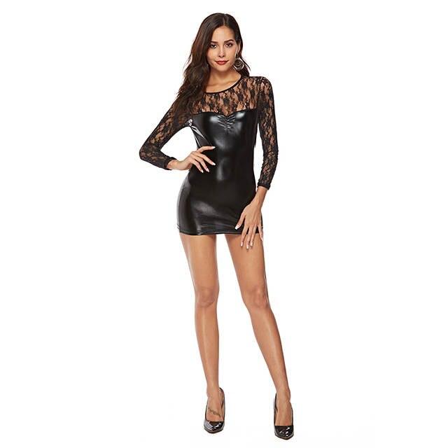 76063279004b5 Plus size 4XL Sexy Black Wetlook Vinyl Mesh PVC Bodycon Dress Fetish Faux  Leather Night Clubwear Sexy Dance Club Dress