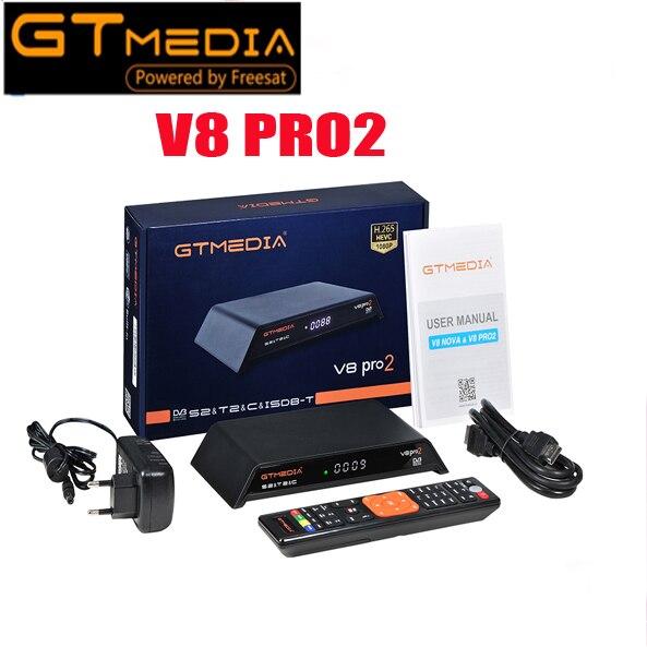 Récepteur TV Satellite Gtmedia V8 pro 2 H.265 DVB-S2 + T2 + DVB-C récepteur Satellite intégré WIFI PowerVu Biss Free sat v8 doré