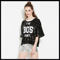 HIGH QUALITY 2017 New Summer European Women Fashion Sequined Tees Black Loose Casual T Shirts Bling