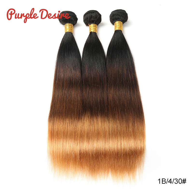 Brazilian Straight Hair T1B430 Ombre Human Hair Weave Bundles 13 Pieces 8-26Inch Honey Blonde 3 Tone Real Remy Hair Extension (5)