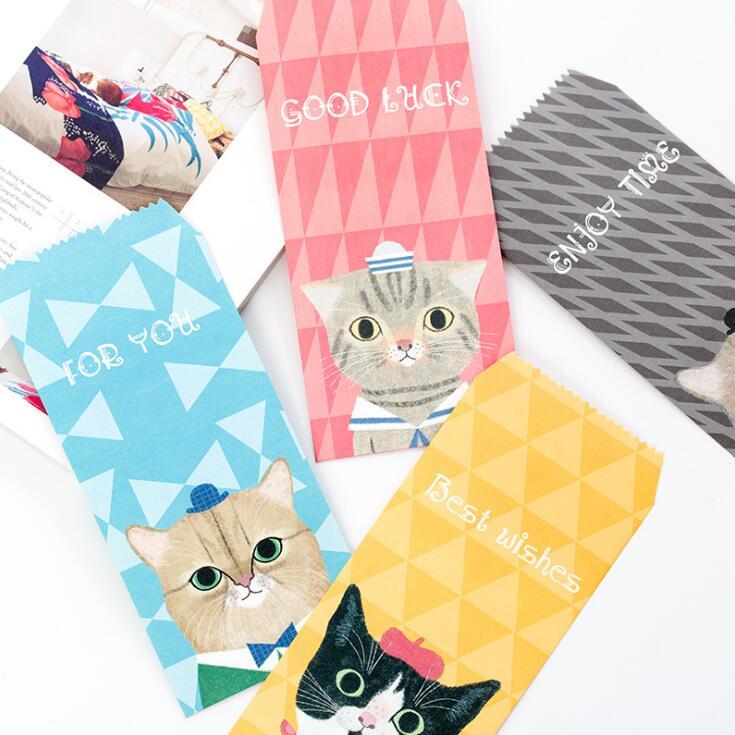 5 Pcs/pack Animal Meow Cat Dog Novelty Envelope Letter Paper Message Card Letter Stationary Storage Paper Gift