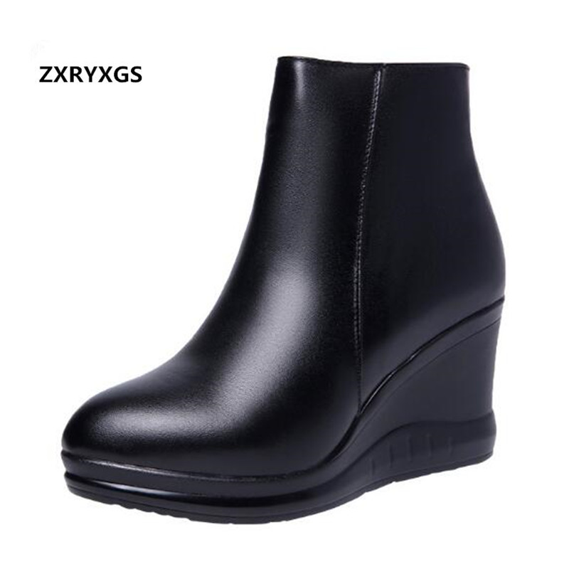 New 2019 Autumn Winter Wedge Shoes Woman High Heel Boots Pointed Elegant Comfort Warm Martin Boots