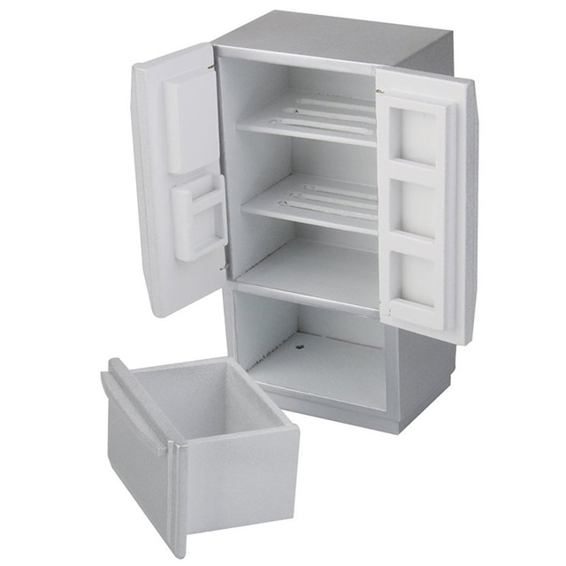 hot sale 112 dollhouse kitchen miniature wooden fridge refrigerator silver - Dollhouse Kitchen