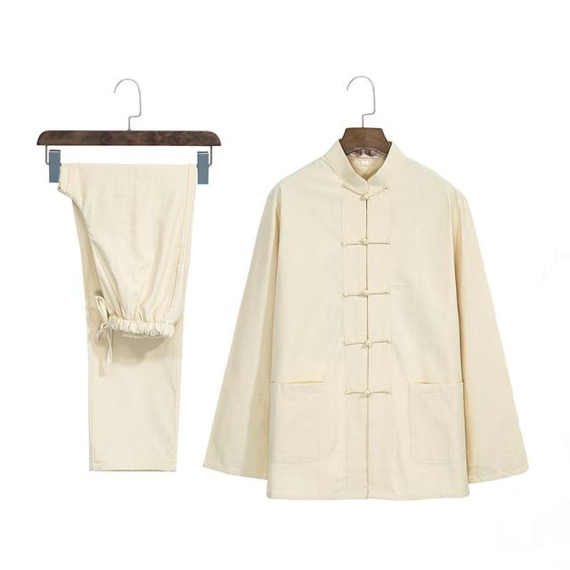 Traditional Chinese Tai Chi Tang Suit Casual Mandarin Collar Kung Fu Set Men Cotton Single Breasted Shit&Pant Plus 3xl 4xl