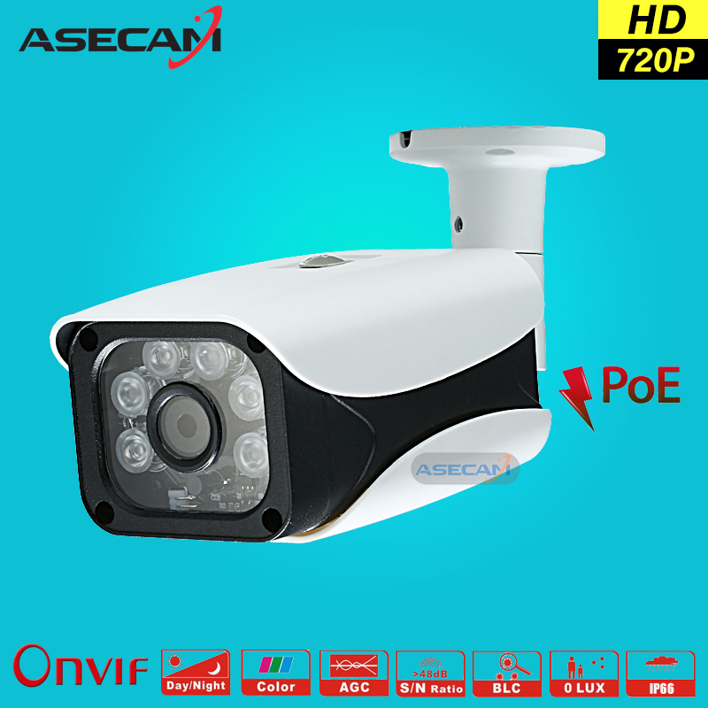 New 720P IP Camera CCTV 6* IR Array LED 48V POE White Bullet Metal Waterproof Outdoor Onvif WebCam Security Surveillance p2p wistino white color metal camera housing outdoor use waterproof bullet casing for cctv camera ip camera hot sale cover case