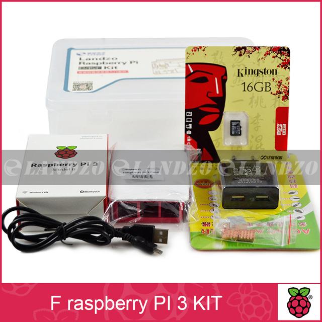 F Raspberry pi 3*1 + 16G cartão de MEMÓRIA SD * 1 + shell Originais * 1 + UE cabo de alimentação * 1 + dissipador de calor * 3 + caso para raspberry pi kit 3*1 frete grátis