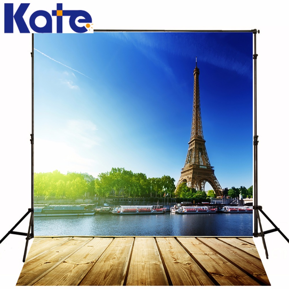 ФОТО Kate Eiffel Tower Backdrop Bluesky White Cloud Photo Scenic Photography Backdrops Large Size Seamless Photo