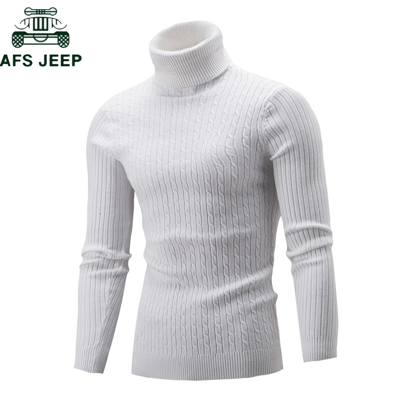 2019 Fashion Autumn Winter Mens Sweaters Casual Male Turtleneck Man's Solid Knitwear Slim Pullover Sweater Men Brand Clothing
