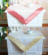 Luxury red yellow square Tablecloth satin lace kitchen tea coffee floral Table Cover cloth Christmas home party Wedding textile