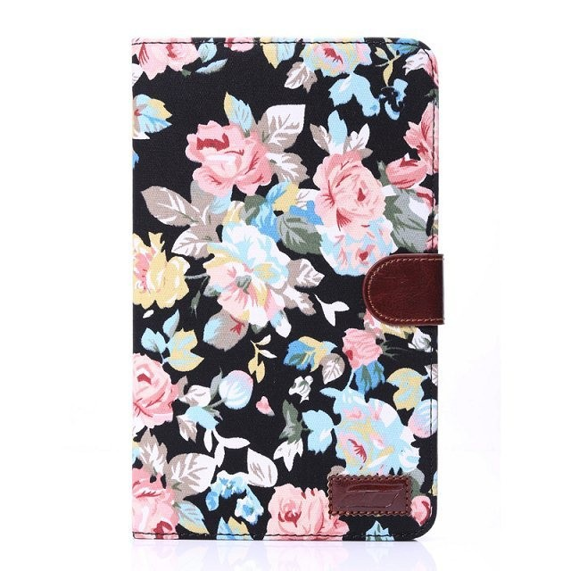 for Samsung galaxy tab 4 tab4 8.0 T330/T331/T335 8 tablet shell flower print printed cloth leather case cover +stylus pen дождеватель truper t 10363