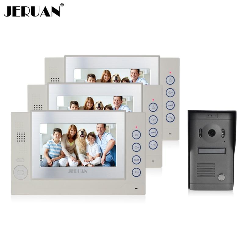 JERUAN Luxury 7 inch video door phone intercom system doorbell video doorphone  recording photo taking 1V3 speaker intercom