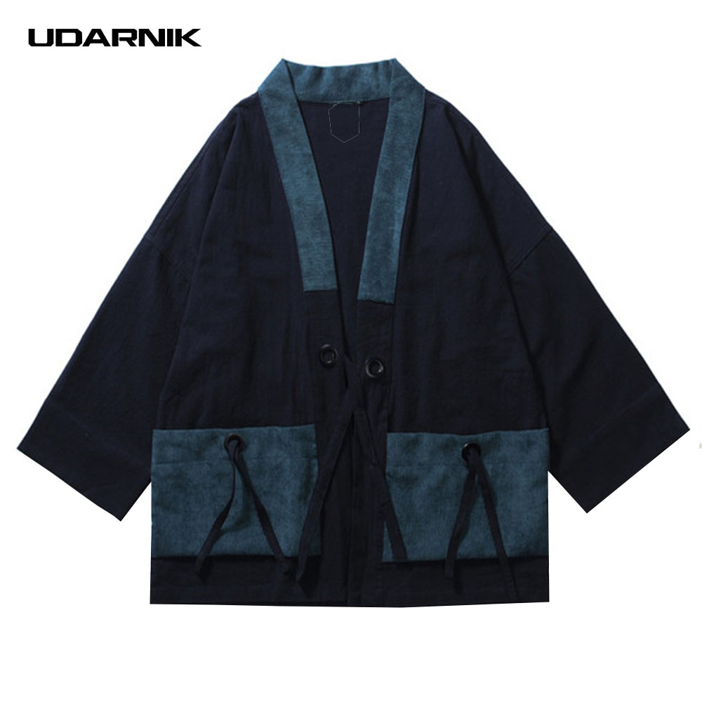 Men Cotton Linen Coat Japanese Style Kimono Loose Vintage Jacket Streetwear Clothes Three Quarter Sleeve Black Blue New 914-143