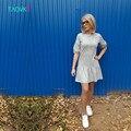 Taovk estilo ruso diseño nuevo 2016 mujeres vestidos de verano hoja de loto dobladillo de algodón gris de manga farol dress dress