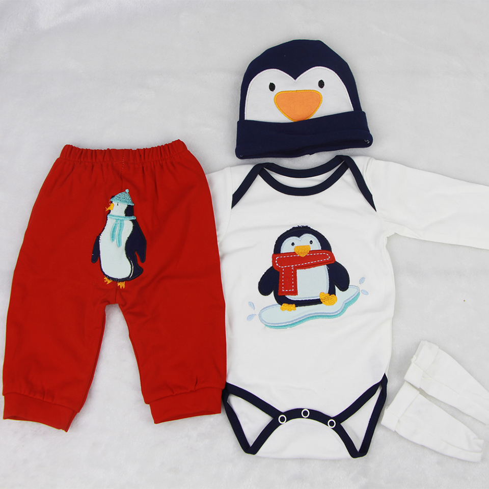 Lovely Penguin Reborn Baby Doll Clothes 4 pcs Sets design For 22-23 inch Baby Boy Doll Accessories Hat Shirt Trousers Socks пинетки митенки blue penguin puku