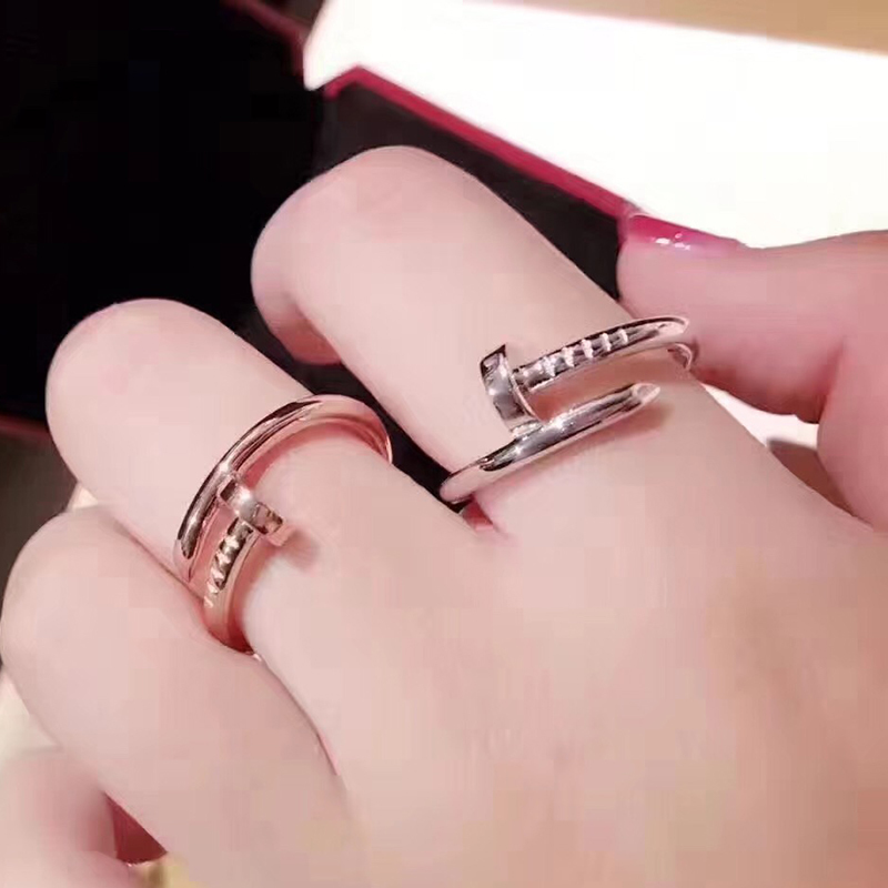 Top Quality 316L Stainless Steel Nail Love Rings For Women Men Couple Engagement Ring Engraved Not Fade in Rings from Jewelry Accessories