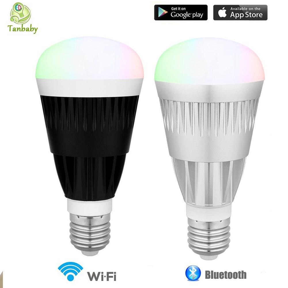 Tanbaby 10 W ampoule LED intelligente Wifi Bluetooth sans fil lumière LED télécommandée lampe RGB blanc dimmable ampoules E27 pour IOS Android