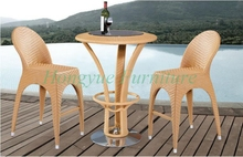 Patio brown rattan 2+1 bar stool furniture set sale