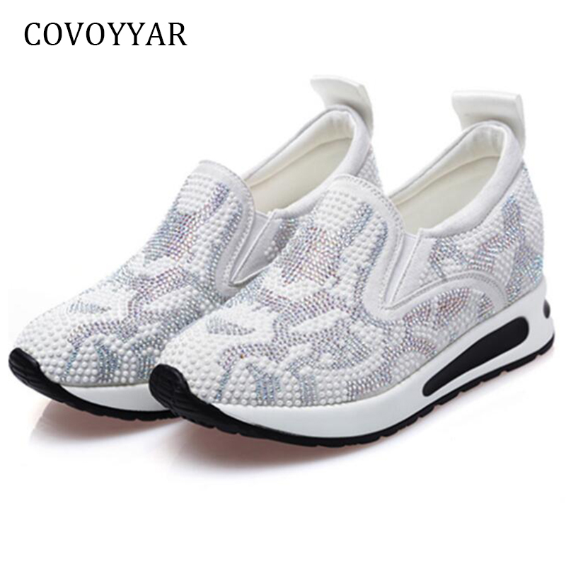 COVOYYAR High Quality Women Sneakers 2018 High Top Hidden Wedges Casual Shoes Breathable Crystal Platform Women Shoes WSN699