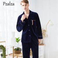 Casual Letter Sleepwear Two Piece Set Luxury Velour Men Pajamas Sets Warm Winter Pyjama Men Fashion Pyjama Homme Home Clothing