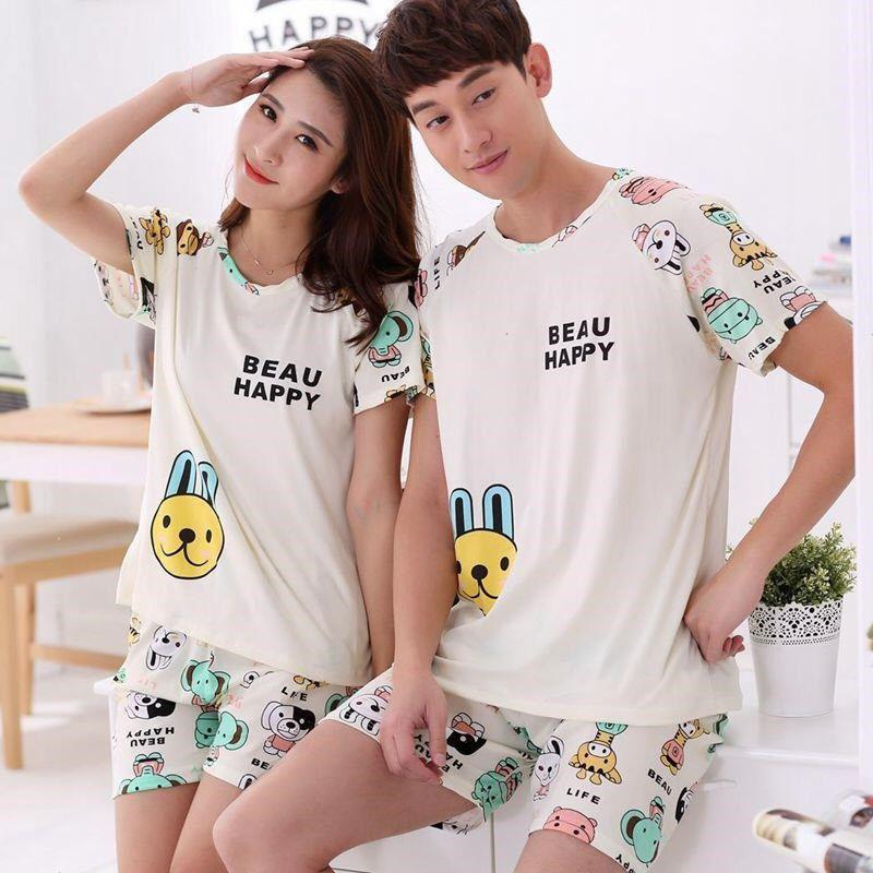 MISSKY Men Women Lovers Pajama Sets Summer Milk Silk  Breathable Fashion Casual Home Wear Set Female Sleepwear