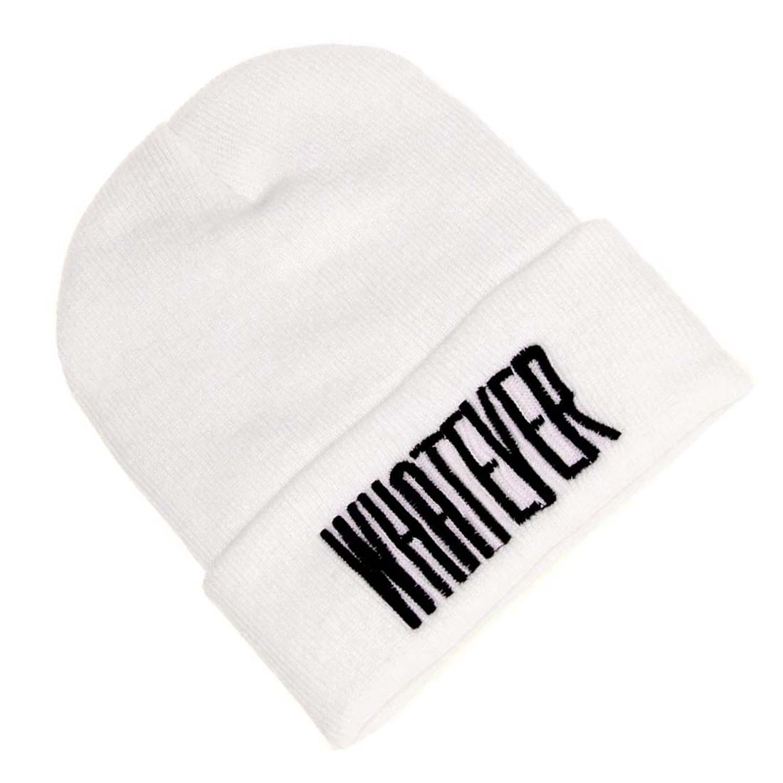 Winter Whatever Beanie Hat And Snapback Men And Women Cap (White) shocking show 2016 new design winter black whatever beanie hat and snapback men and women cap