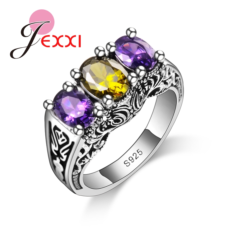 Jemmin New Design Colorful Cubic Zirconia Ring Fashion 925 Sterling Silver Women Wedding Engagement Party Ring Jewelry ...