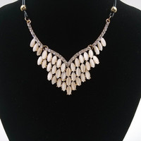 Luxury Rhinestone Pendant Statement Necklace For Women Bohemia Style Gold Color Pendant With Rope Chain