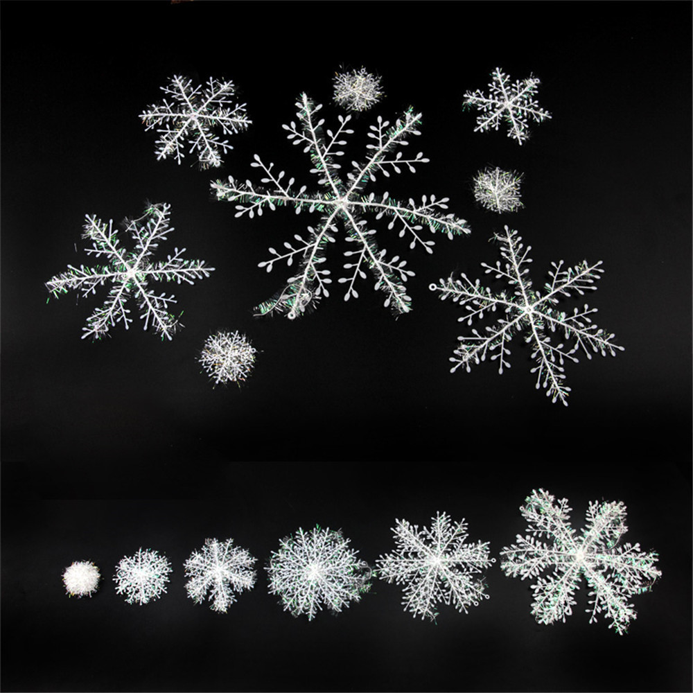 Christmas snowflake ornaments - 30pcs Christmas Snowflake Piece Plastic Snowflake Christmas Decoration Ornaments Holiday Festival Party Home New Year Gift