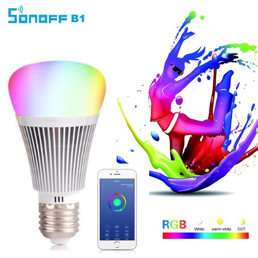Sonoff B1 Led Gradateur Ampoule Wifi Smart Light Ampoules Télécommande Wifi Interrupteur de Lumière Led Couleur Lumière Changeante Ampoule Fonctionne Avec Alexa