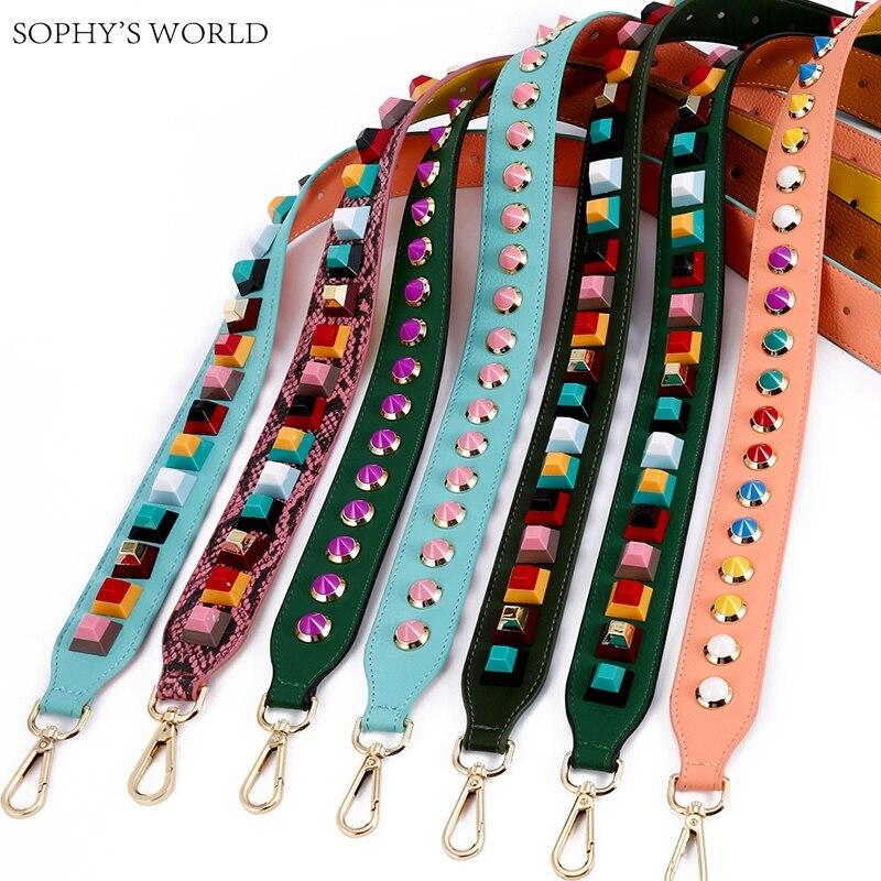 New 2019 Soft Leather Bag Strap Color Rivet Handbags Belts Women Bags Strap Leather Handle Accessory Bag Parts Icon Bag Belts