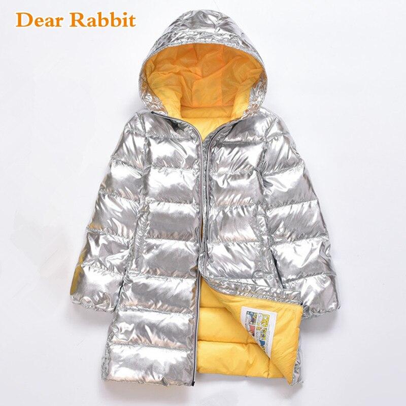 2019 New Winter coat Silver Children Baby Girl Clothes Duck Down Jacket Kids Overcoat Boy long
