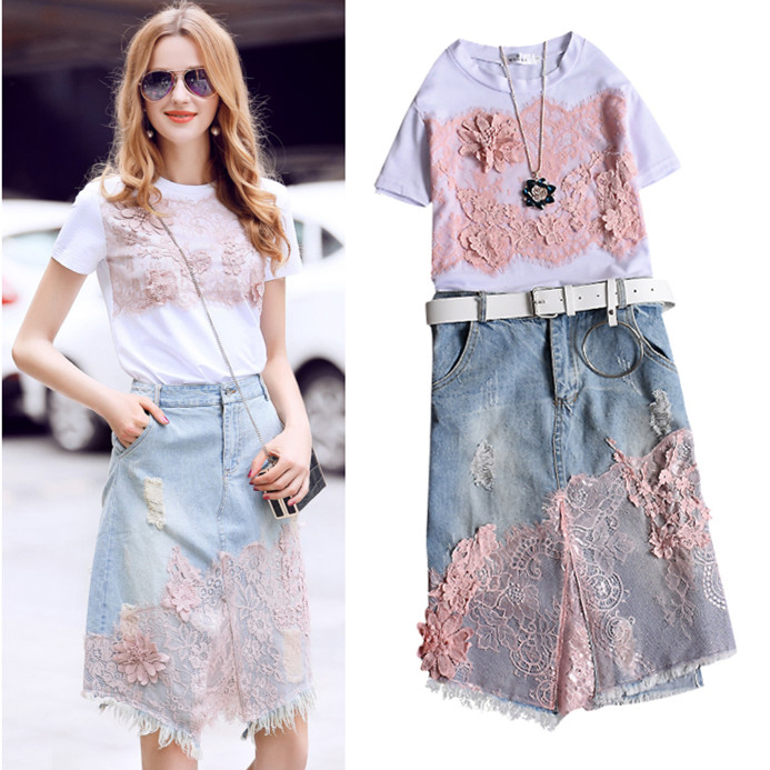 Women Summer Costumes New Casual White Pink Lace Embroidery Tees And Feminine Cut Fashion Denim Jean Skirt Suits Set NS637