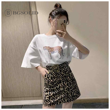 2019 new fashion two-piece leopard   print base T-shirt high-waisted leopard print a-line skirt for women все цены