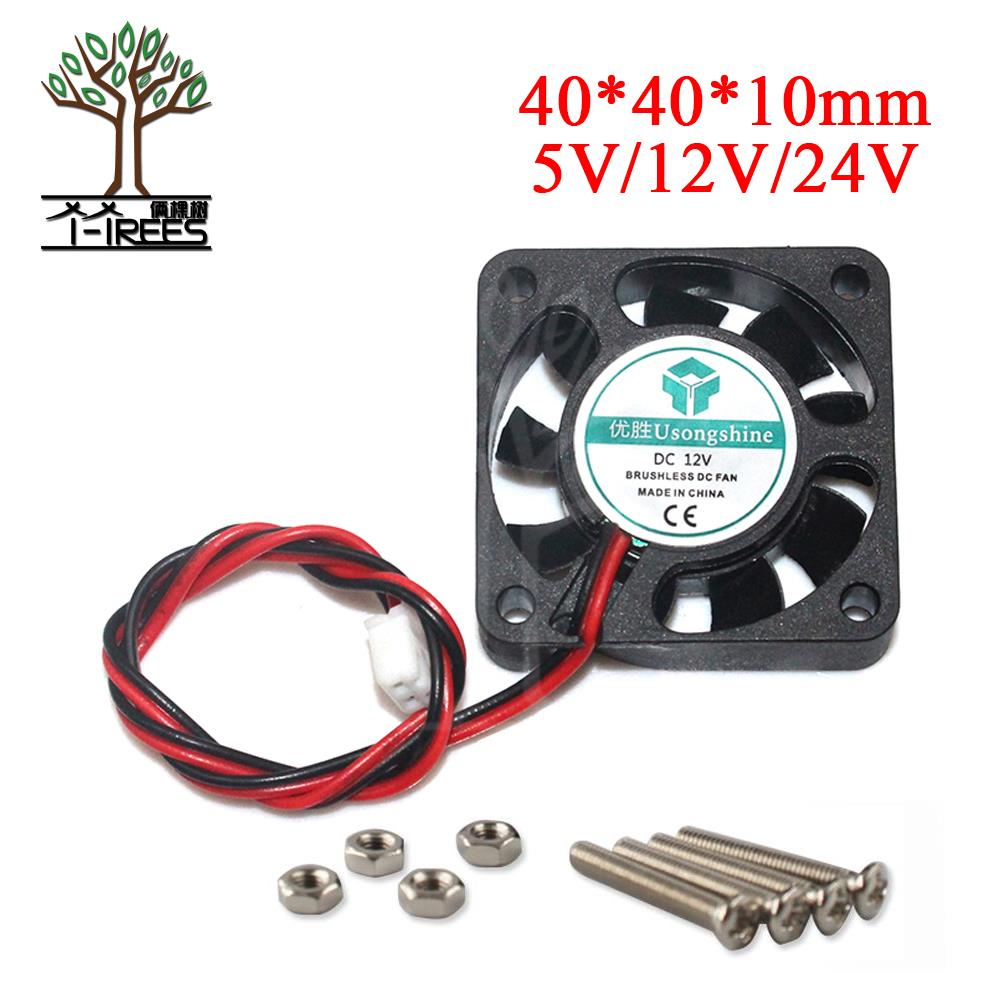 DC 12V 5V 24V Computer CPU Cooler Mini Cooling Fan 40MM 40x40x10mm Small Exhaust Fan for 3D Printer 4010 2 pin 40*40*10MM Parts free shipping for sunon kde1204pfvx 11 ms af gn dc 12v 1 8w 2 wire 2 pin connector 60mm 40x40x10mm server cooling square fan
