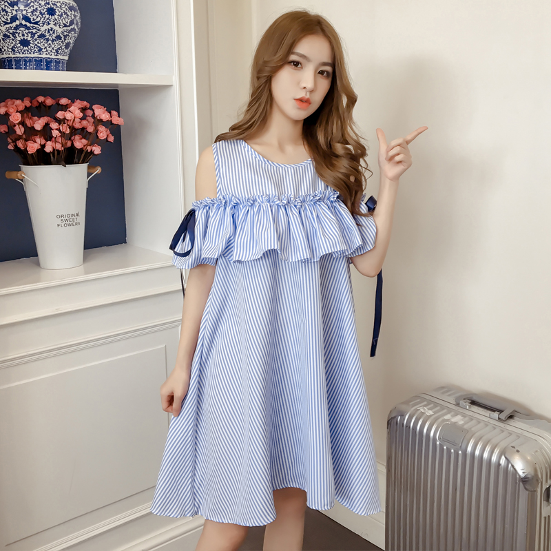 2018 New Summer Spring Cute Women dress Striped Slim Word Shoulder Dresses Dark Blue Sapphire 3228A