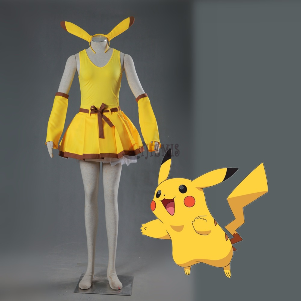 Athemis Pocket Monster  Pikachu   cosplay costume anime cosplay lovely  girl dress
