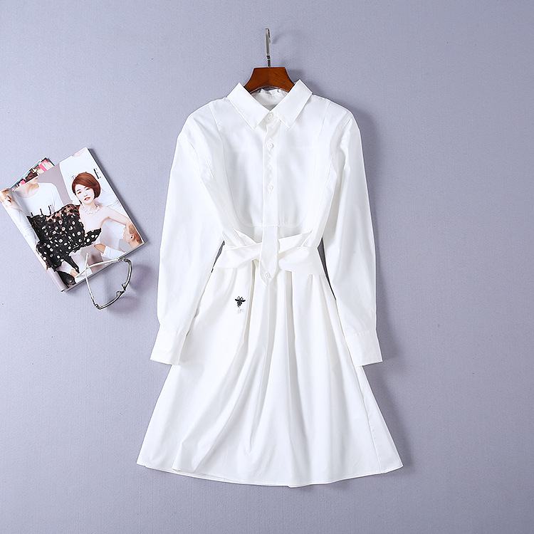2019 New High Quality Fashion Dress Runway Dresses Summer Womens Brand White Shirt Luxury Dress Women's Clothing