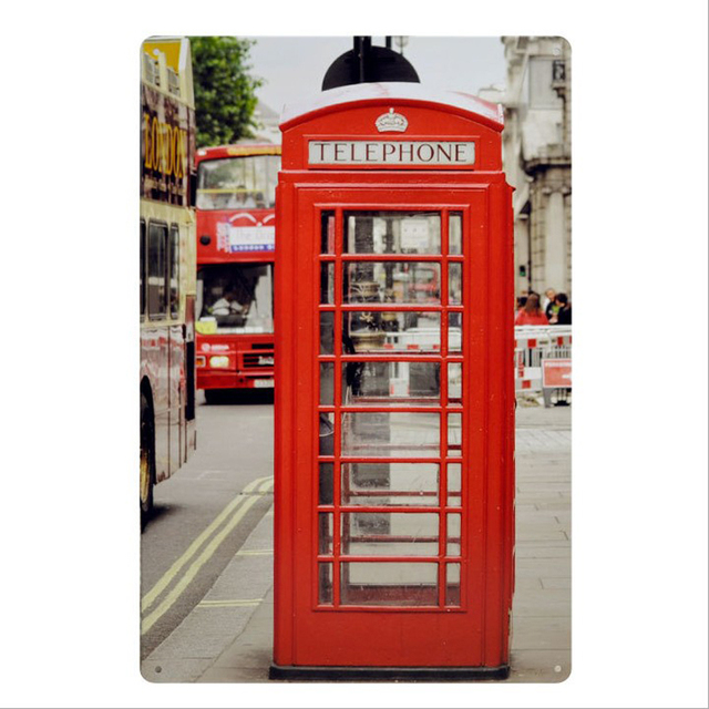 Aliexpress.com : Buy London view/red telephone box/Metal Signs Wall ...