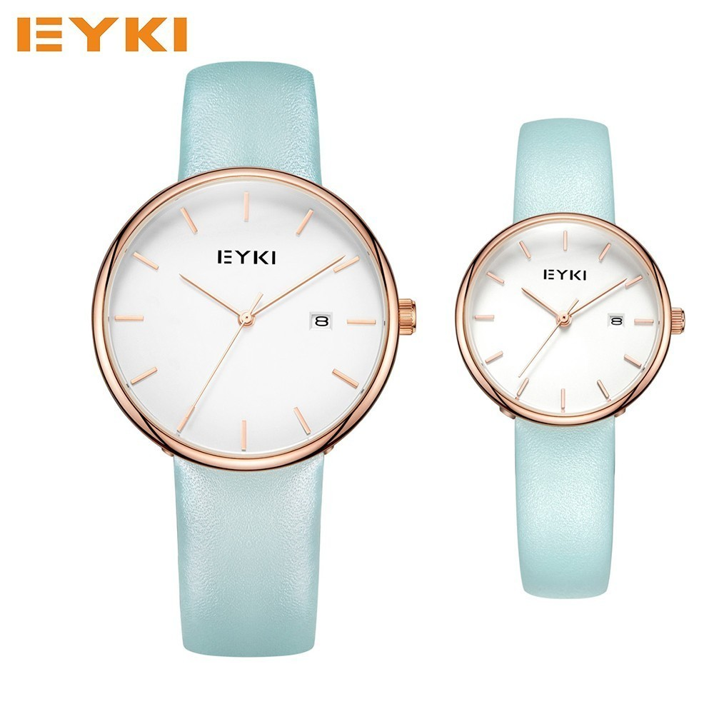 EYKI Fashion Color Lover's Watches Men Genuine Leather Analog Quartz Couple Watch Women Date Wristwatch Luxury Brand 2017 Clocks woman yoga sets sports bra and leggings female slim sportswear running jogging women s fitness gym stretch sport suit clothing