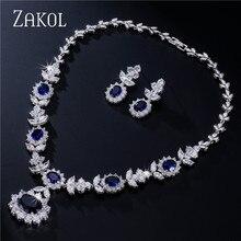 ZAKOL Luxury Sliver Color Dark Blue AAA Cubic Zirconia Jewelry Sets for Elegant Bridal Wedding Flower Jewelry FSSP112