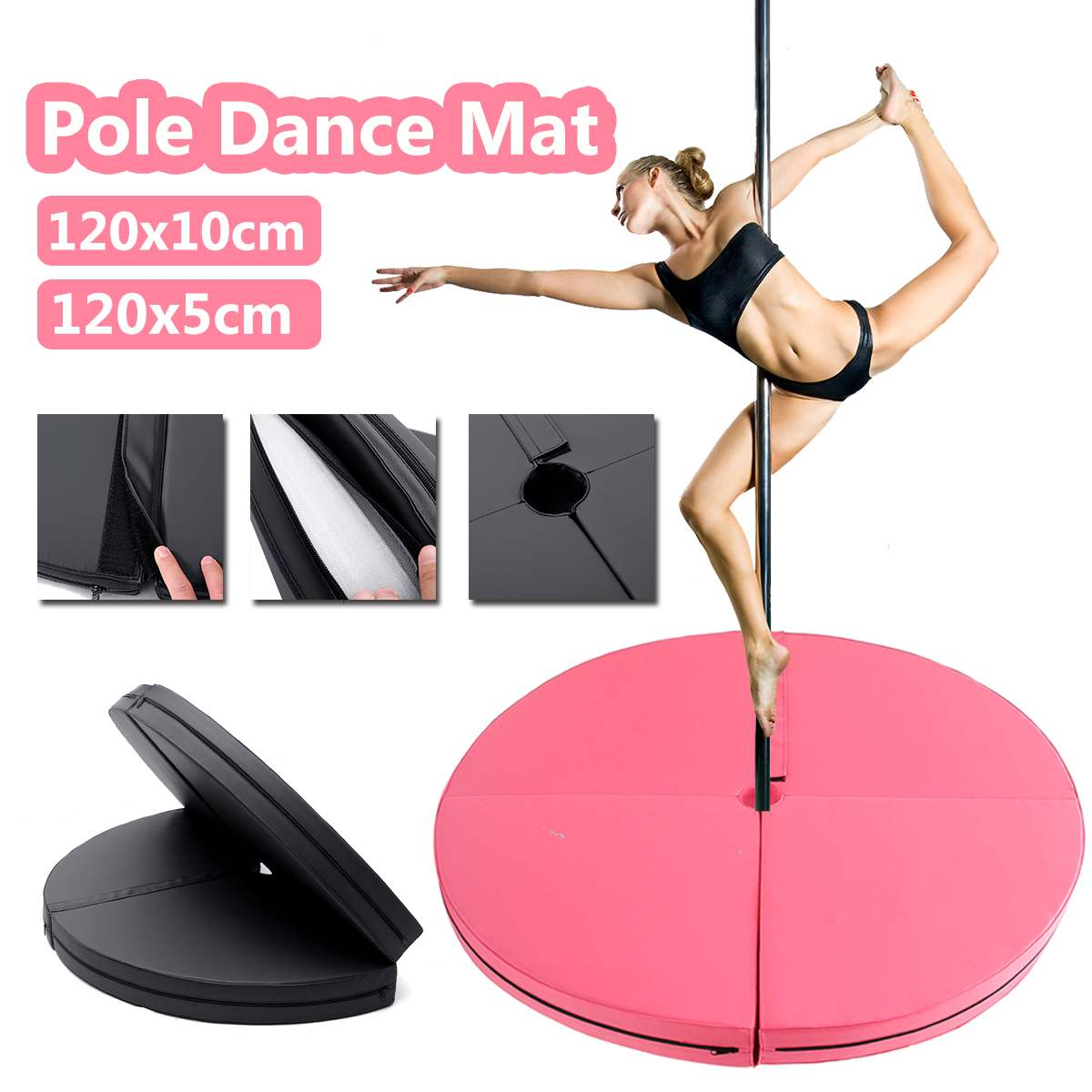 120x10cm PU Pole Dance Mat Skid-proof Fitness Yoga Mats Waterproof Thickened Round Dance Exercise Mat Folding Safety Gym Mat