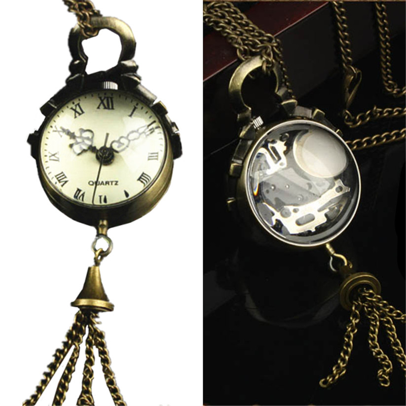 Womens Quartz Pocket Watch 1 PC Victorian Style Vintage Necklace Watch Pendant Glass Ball Shape Keychain Watch Wholesale Gift C5 style bird and pocket watch shape women s pendant necklace