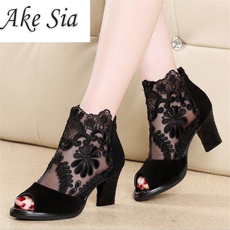 Ake Sia Mesh Peep Toe Sandals Sexy Heels Summer
