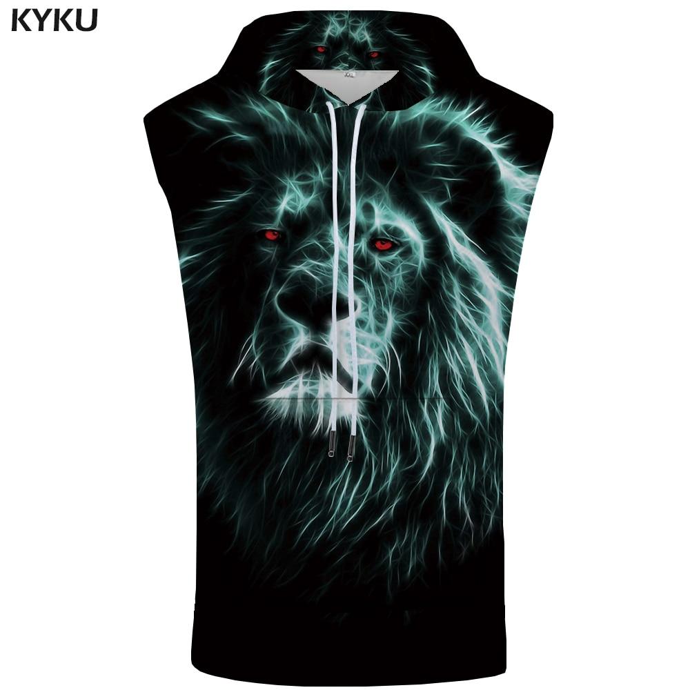 KYKU Brand Lion Hooded   Tank     Top   Men Animal Shirts Black Light 3d Print Sleeveless Vest Stringer Bodybuilding Mens Clothing New