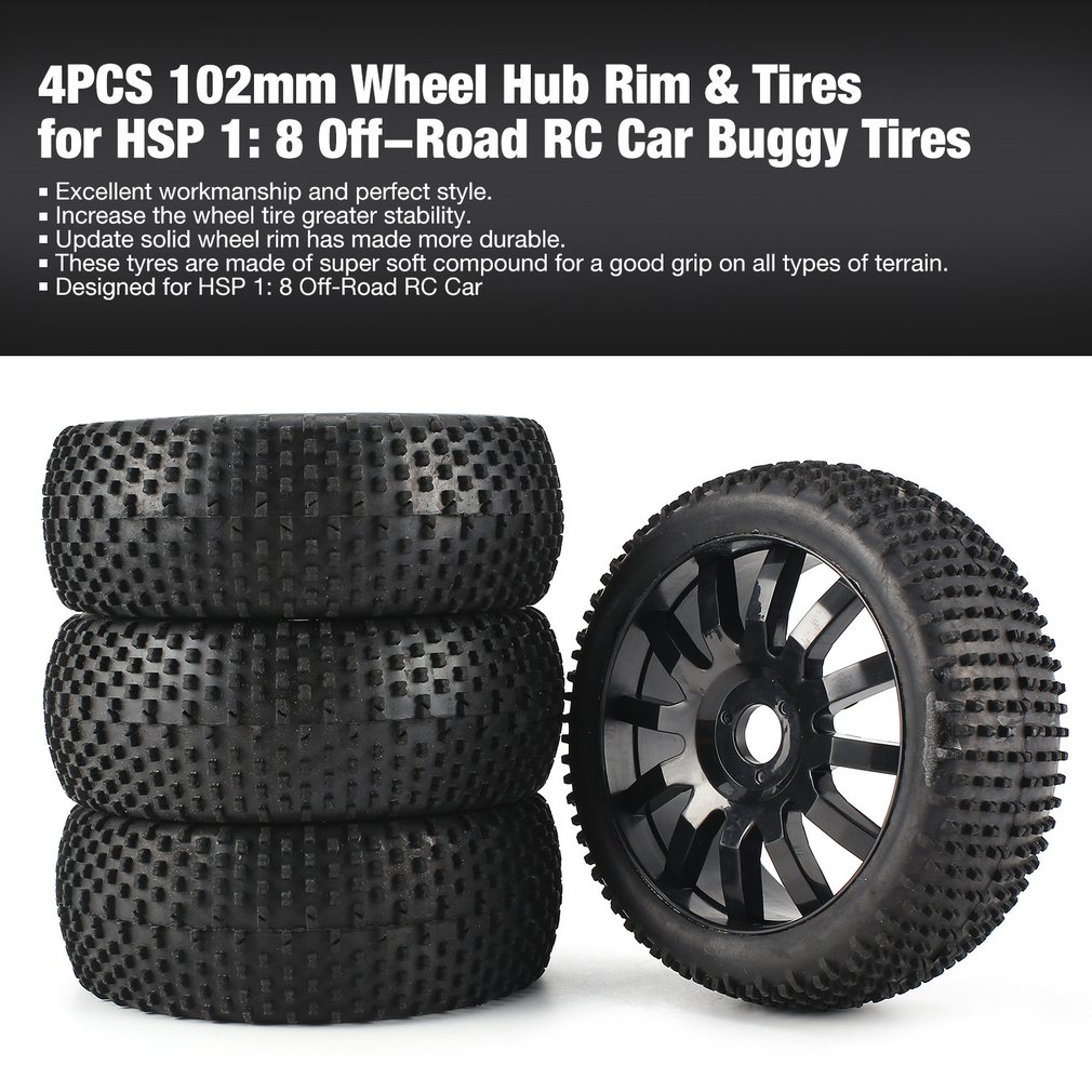 4pcs 1/8 Rc Off Road Buggy Snow Sand Paddle Tires Tyre Wheel For Hsp Hpi Baja Remote Control Toys Parts & Accessories