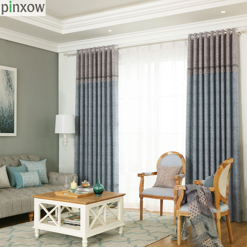 jacquard blackout curtains for living room coffee bedroom curtains custom made home window panels blue plaid drapes white tulle